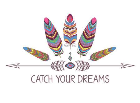 Marco boho estilo. Frontera con decorativo Pájaro Pluma. Diseño para la camiseta.