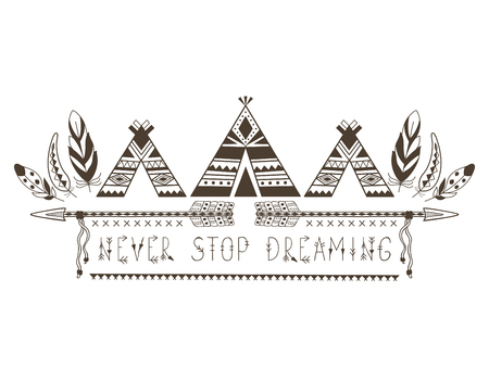 Boho Style for T-shirt and Decoration. Abstract Design with Bird Feather and Arrow . Ethnic Graphic with motivate Slogan.