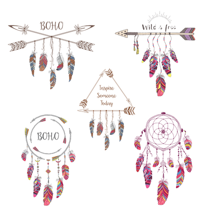 Set of Boho Style Design for T-shirt, Tattoo and Decoration. Abstract Frame with Bird Feather and Arrow . Illustration
