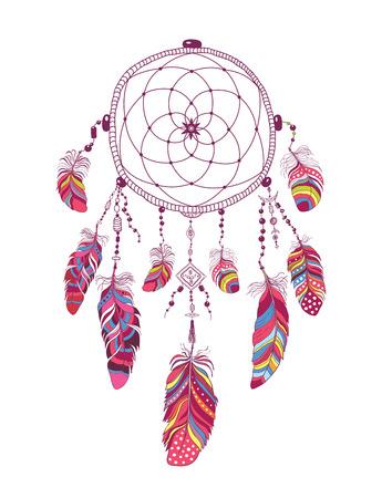 Native American Indian Talisman Dream Catcher with Feathers. Ilustração