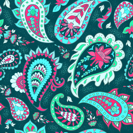 abstract backgrounds: Seamless Abstract Floral Pattern with Paisley Illustration