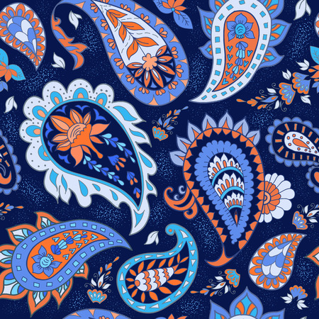 ornaments floral: Seamless Abstract Floral Pattern with Paisley Illustration