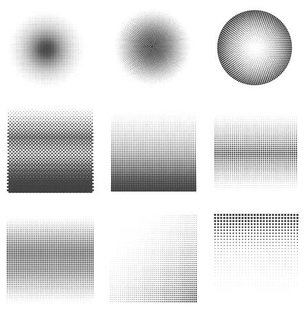 black dots: Set of halftone dots Patterns. Black dots on white Background.