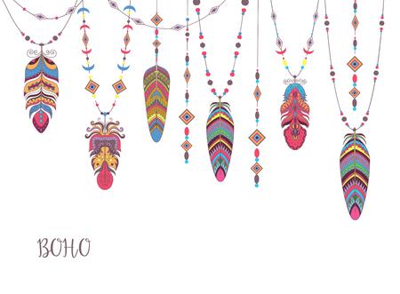 鳥の羽とビーズで自由奔放に生きる抽象デザイン。民族部族の装飾的な背景。