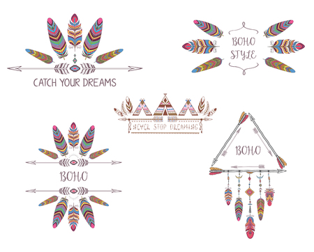 Set of Boho Style Design for T-shirt, Tattoo and Decoration. Abstract Frame with Bird Feather and Arrow. Illustration