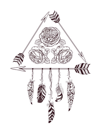 fashion design: Hand drawn boho style design with rose flower, arrow and feathers. Hippie fashion decoration for t-shirt or tattoo.