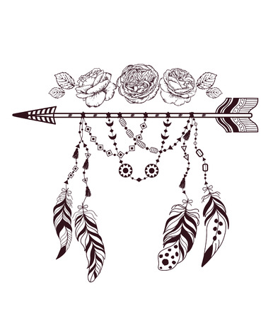 rose tattoo: Hand drawn boho style design with rose flower, arrow and feathers. Hippie fashion decoration for t-shirt or tattoo.