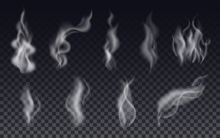 Realistic cigarette smoke waves or steam on transparent background. Vector Set.