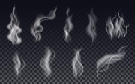 Realistische Zigarettenrauch Wellen oder Dampf auf transparentem Hintergrund. Vector Set.