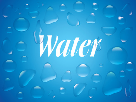 Clear transparent water drops isolated on the blue background. Label for Drink. Illustration