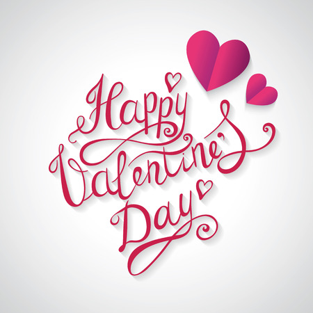 Valentines day lettering background. Hand Drawing Vector Lettering design. Greeting card.
