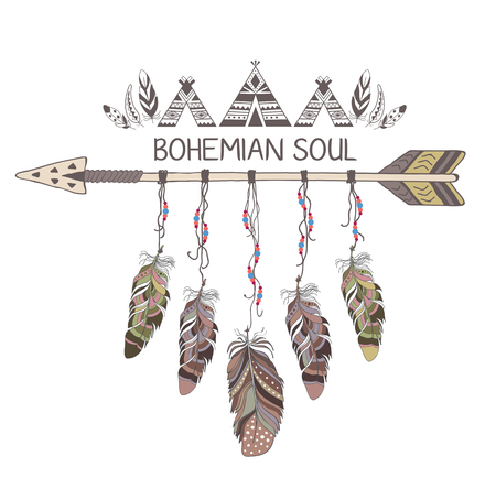 decoration style: Hand drawn boho style design with arrow and feathers. Hippie fashion decoration for t-shirt or tattoo.