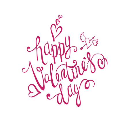 Valentines day background. Hand Drawing Vector Lettering design. Romantic greeting card.