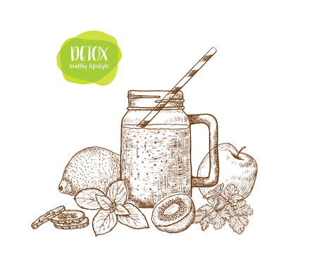 Smoothie. Sketch of vegan food for cooking cards, stickers, labels, tags. Healthy Lifestyle. Vector hand drawn illustration .