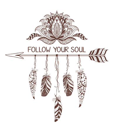 decoration style: Hand drawn boho style design with lotus flower, arrow and feathers. Fashion decoration for t-shirt or tattoo. Ethnic Style with motivate Slogan .
