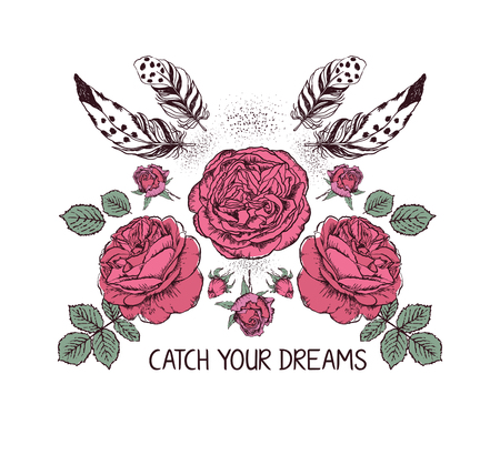 decoration style: Hand drawn boho style design with rose flower and feathers. Hippie fashion decoration for t-shirt or tattoo with motivational quote .