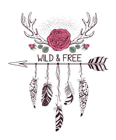 decoration style: Hand drawn boho style design with rose flower, arrow and feathers. Hippie fashion decoration for t-shirt or tattoo. Ethnic Style with motivate Slogan .