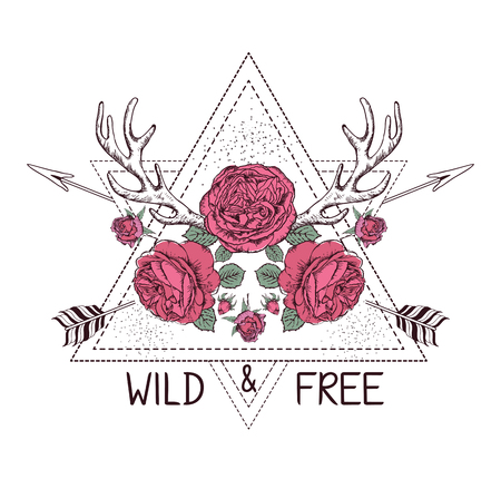 Hand drawn boho style design with rose flower, arrow and deer antlers. Hippie fashion decoration for t-shirt or tattoo. Ethnic Style with motivate Slogan .