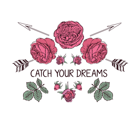 Hand drawn boho style design with rose flower and arrow. Hippie fashion decoration for t-shirt or tattoo with motivational quote .
