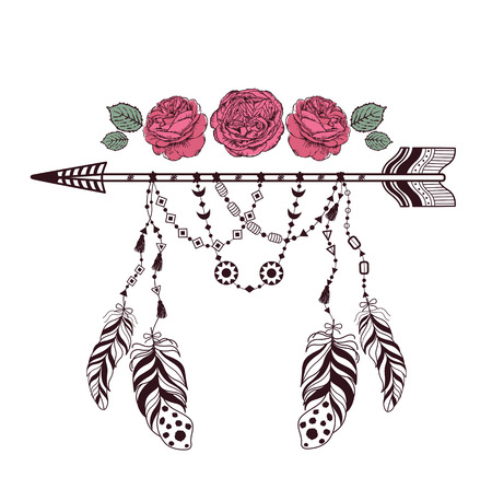 decoration style: Hand drawn boho style design with rose flower, arrow and feathers. Hippie fashion decoration for t-shirt or tattoo.