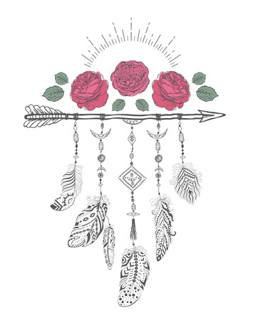 flower  hand: Hand drawn boho style design with rose flower, arrow and feathers. Hippie fashion decoration for t-shirt or tattoo with motivational quote . Illustration