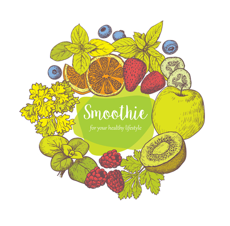 oregano: Smoothie. Herb, Spices and Fruits. Sketches of vegan food for cooking cards, stickers, labels, tags and packaging. Healthy Lifestyle. Vector hand drawn illustration .