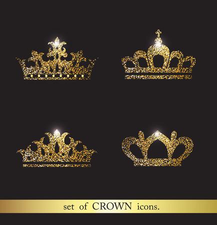 Set of gold crown icons. Banco de Imagens - 71579581