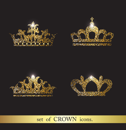 8fcaa41cc6e Set of gold crown icons. Illustration