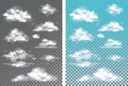 Brouillard, fumée et nuage isolé effet spécial transparent. Vecteurs
