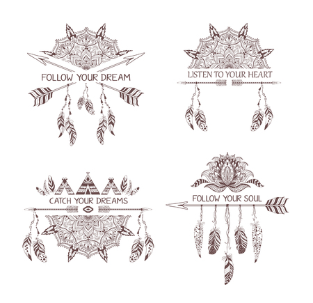 Set of hand drawn boho style design with mandala, arrow and feathers for t-shirt or tattoo. Illustration