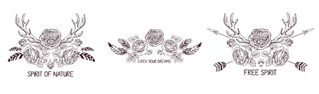 traditional: Set of hand drawn boho style design with rose flower, arrow and feathers. Hippie fashion decoration for t-shirt or tattoo. Illustration