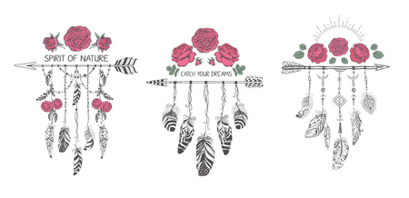 decoration style: Set of hand drawn boho style design with rose flower, arrow and feathers. Hippie fashion decoration for t-shirt or tattoo. Illustration