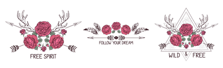 quota: Set of hand drawn boho style design with rose flower, arrow and feathers. Illustration