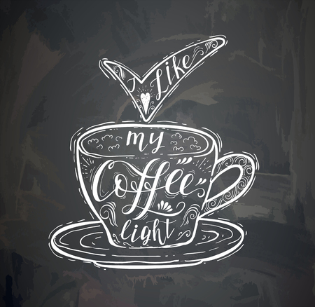 Coffee quote with a cup on the chalk board. Vector hand-drawn lettering for prints , posters, menu design and invitation . Illustration