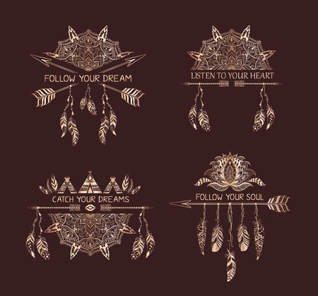 decoration style: Set of hand drawn boho style design with mandala, arrow and feathers. Gold decoration of tribal style with motivate quote . Illustration