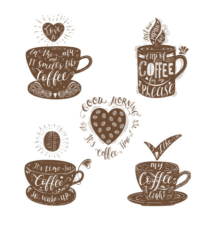 Set of Quotes for coffee . Vector hand-drawn lettering for prints , posters, menu design and invitation .
