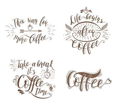 decoration: Set of Quotes for coffee. Vector hand-drawn lettering for prints , posters, menu design and invitation .