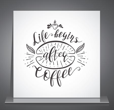 Cita De Café En La Pizarra. Letras Dibujadas A Mano De Vector Para ...
