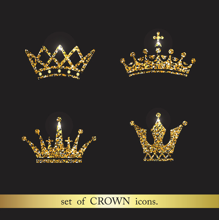gold: Set of vector gold crown icons. Logo royal design elements. Stock Photo
