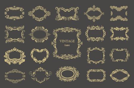 graphic: Set of gold vintage floral frames. Vector decorative borders.