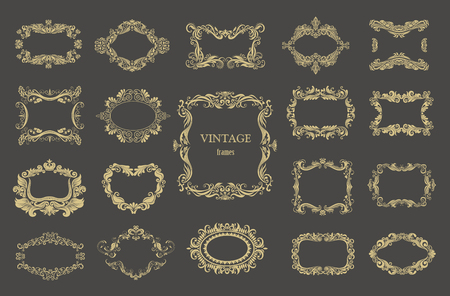 Set of gold vintage floral frames. Vector decorative borders.