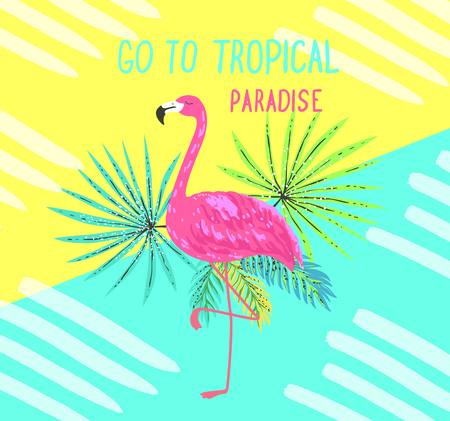 Tropical postcard. Summer background with flamingo and palm leaves. Color travel poster and t-shirt print.