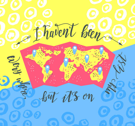 Travel. Inspiration quote on the color background. Tourism banner with hand lettering and map.