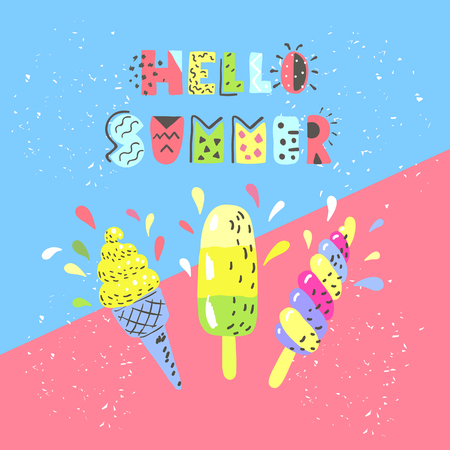 Summer multicolor banner with ice cream. Designs for t-shirt, menu, packaging and poster. Memphis style.