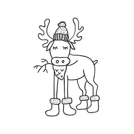 Funny elk. Nursery art. Minimalist scandinavian style. Character for kids card, print for t-shirt and more. Winter season. Illustration