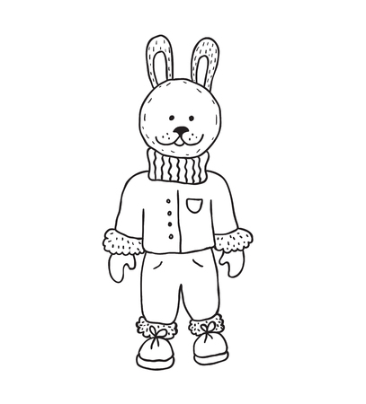 Funny rabbit. Nursery art. Minimalist scandinavian style. Character for kids card, print for t-shirt and more. Winter season.
