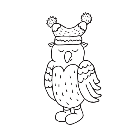 Funny owl nursery art. Minimalist scandinavian style. Character for kids card, print for t-shirt and more. Winter season.