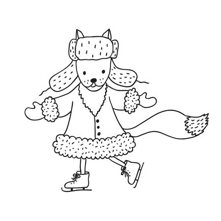 Funny fox nursery art. Minimalist scandinavian style. Character for kids card, print for t-shirt and more. Winter season.