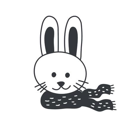 Funny rabbit. Nursery art. Minimalist scandinavian style. Character for kids card, print for t-shirt and more. Winter season.