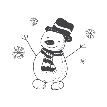 Funny snowman nursery art. Minimalist scandinavian style. Character for kids card, print for t-shirt and more. Winter season.